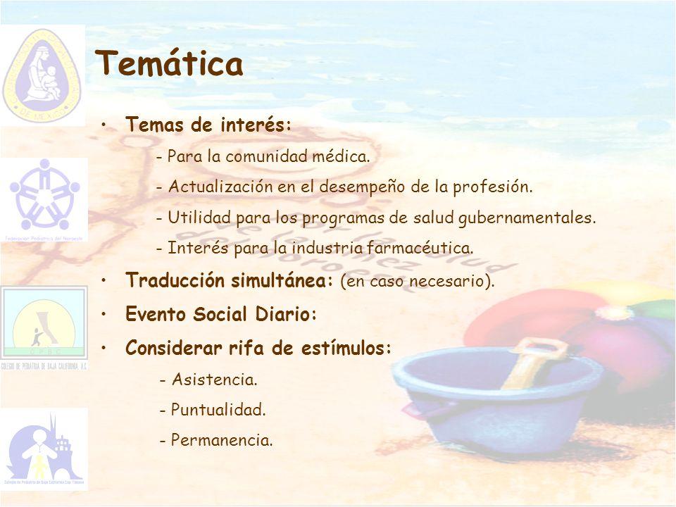 Temática Temas de interés: Traducción simultánea: (en caso necesario).