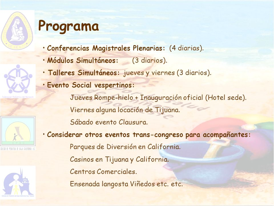Programa Conferencias Magistrales Plenarias: (4 diarias).