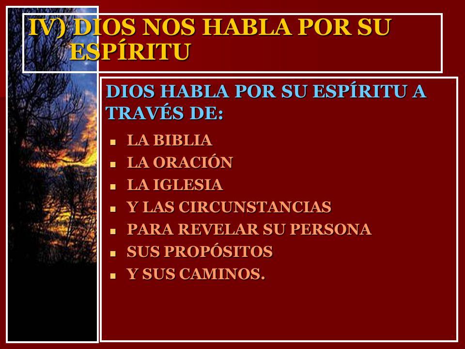 IV) DIOS NOS HABLA POR SU ESPÍRITU