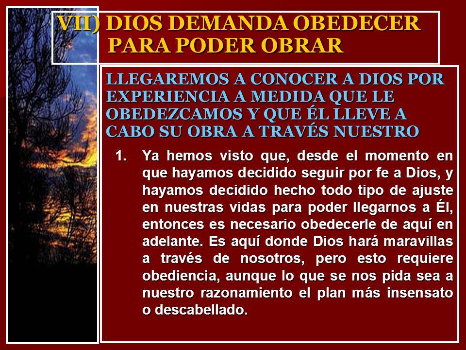 VII) DIOS DEMANDA OBEDECER PARA PODER OBRAR