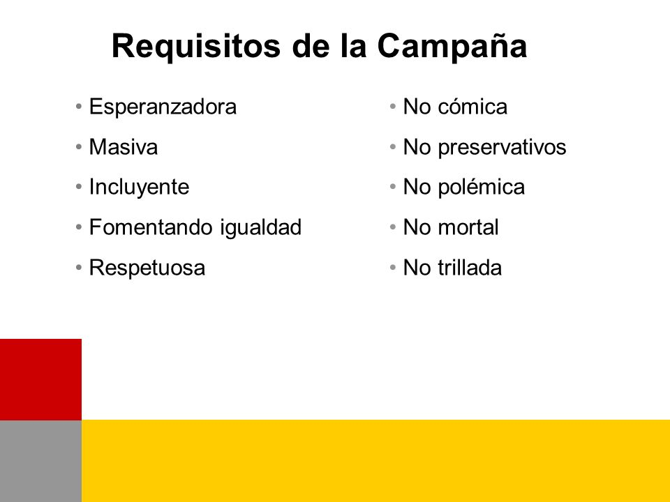 Requisitos de la Campaña