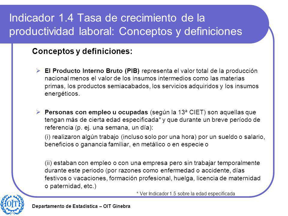 Indicador 1.4 Tasa de crecimiento de la productividad laboral: Conceptos y definiciones