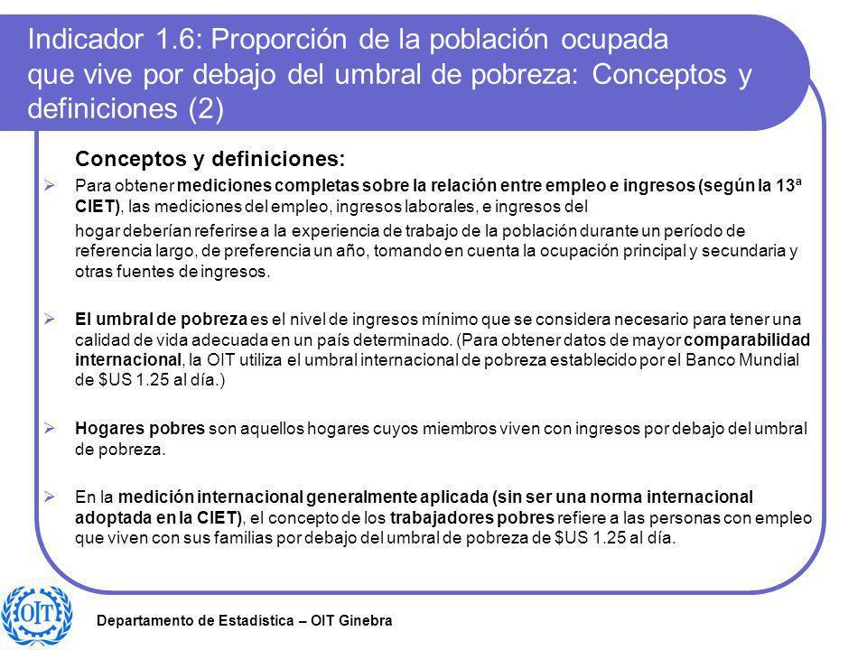 Indicador 1.6: Proporción de la población ocupada que vive por debajo del umbral de pobreza: Conceptos y definiciones (2)