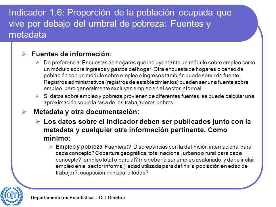 Indicador 1.6: Proporción de la población ocupada que vive por debajo del umbral de pobreza: Fuentes y metadata