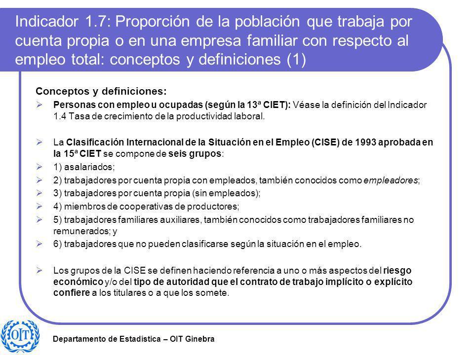 Indicador 1.7: Proporción de la población que trabaja por cuenta propia o en una empresa familiar con respecto al empleo total: conceptos y definiciones (1)