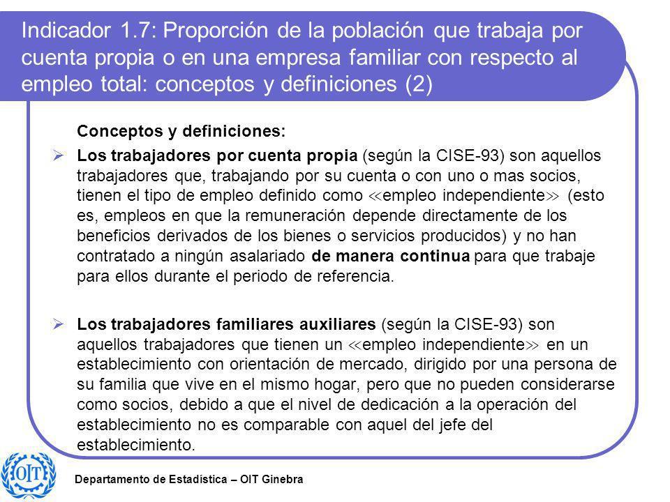 Indicador 1.7: Proporción de la población que trabaja por cuenta propia o en una empresa familiar con respecto al empleo total: conceptos y definiciones (2)
