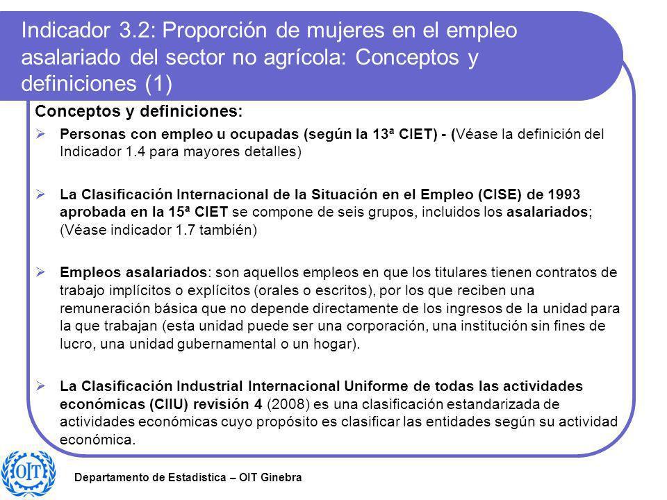 Indicador 3.2: Proporción de mujeres en el empleo asalariado del sector no agrícola: Conceptos y definiciones (1)