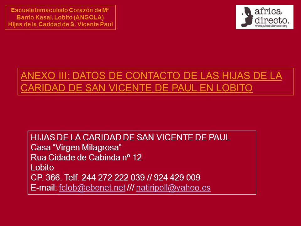 ANEXO III: DATOS DE CONTACTO DE LAS HIJAS DE LA CARIDAD DE SAN VICENTE DE PAUL EN LOBITO
