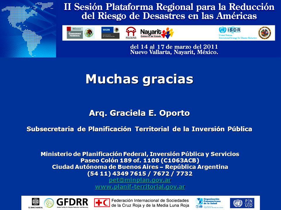 Muchas graciasArq. Graciela E. Oporto Subsecretaria de Planificación Territorial de la Inversión Pública.