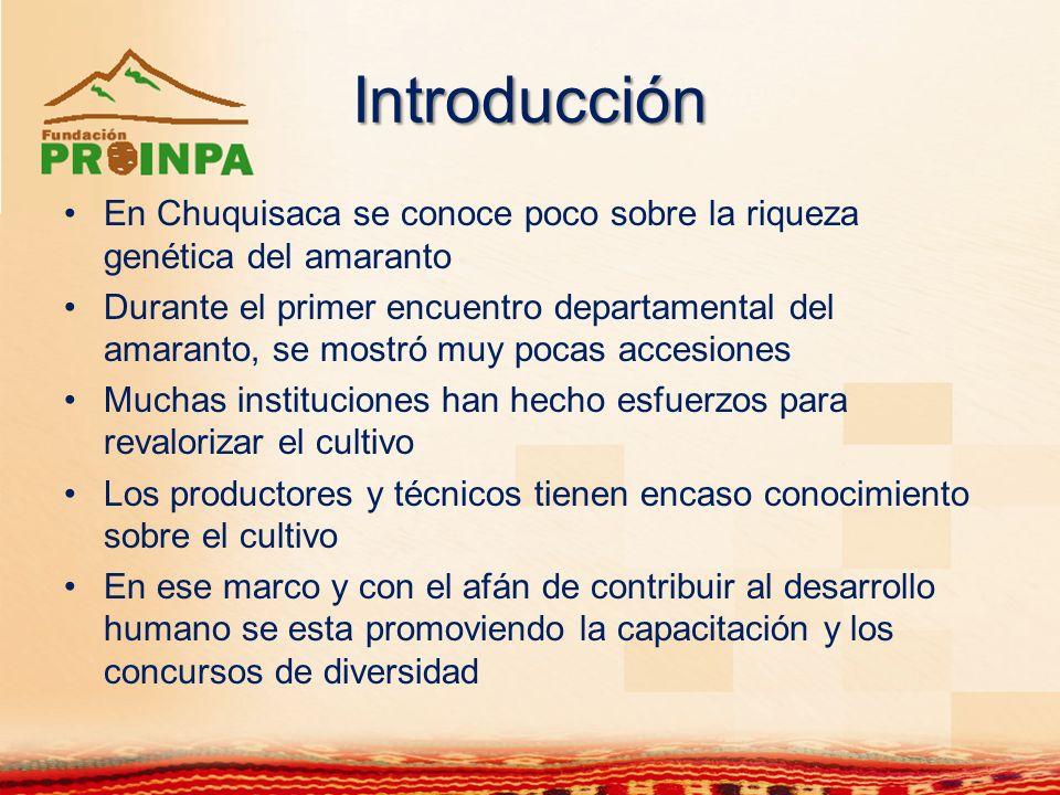 Introducción En Chuquisaca se conoce poco sobre la riqueza genética del amaranto.