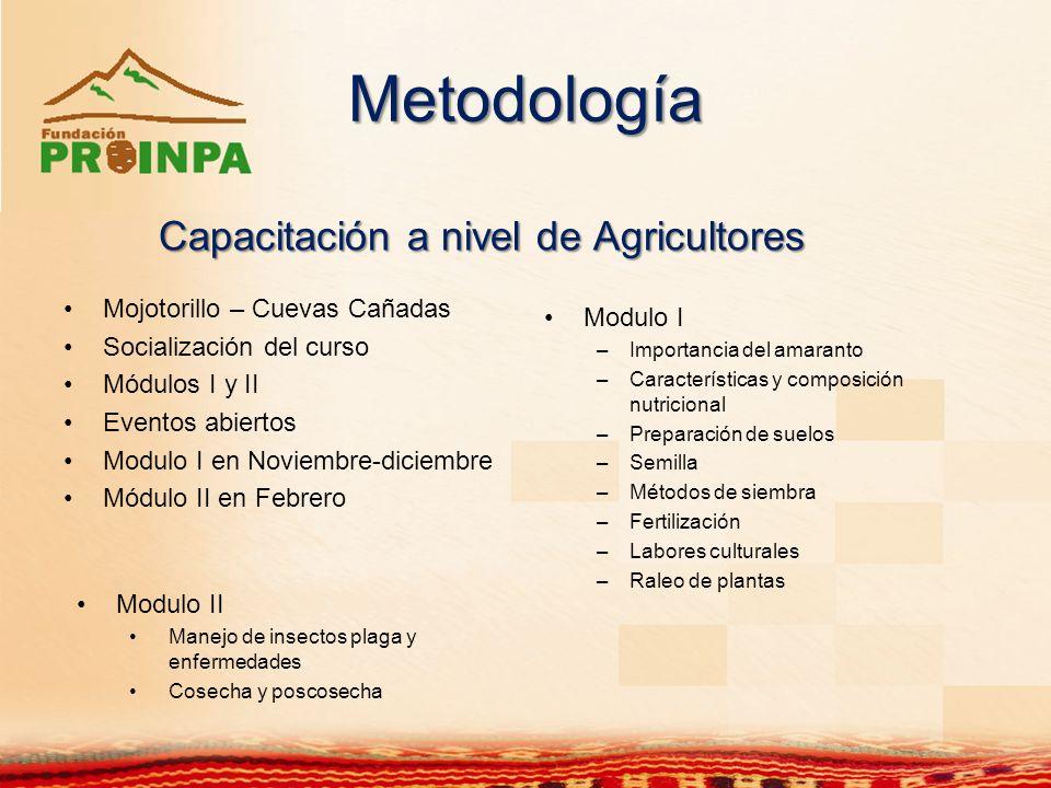 Metodología Capacitación a nivel de Agricultores