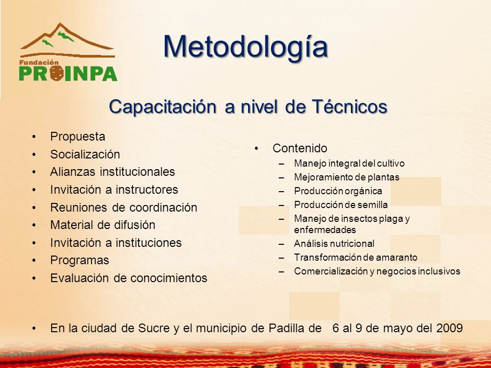 Metodología Capacitación a nivel de Técnicos Propuesta Socialización