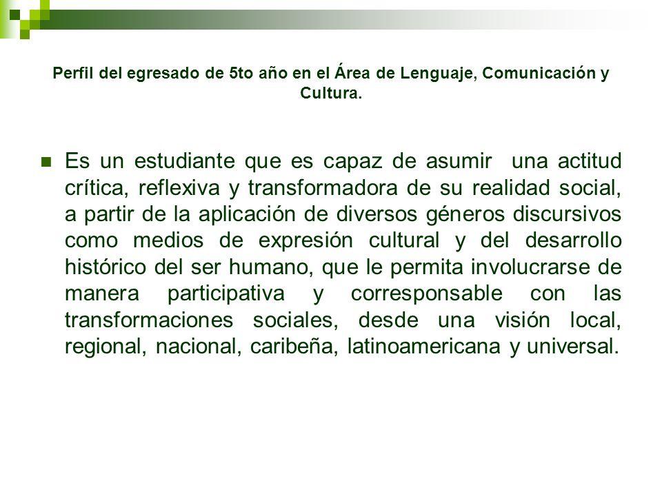 Perfil del egresado de 5to año en el Área de Lenguaje, Comunicación y Cultura.