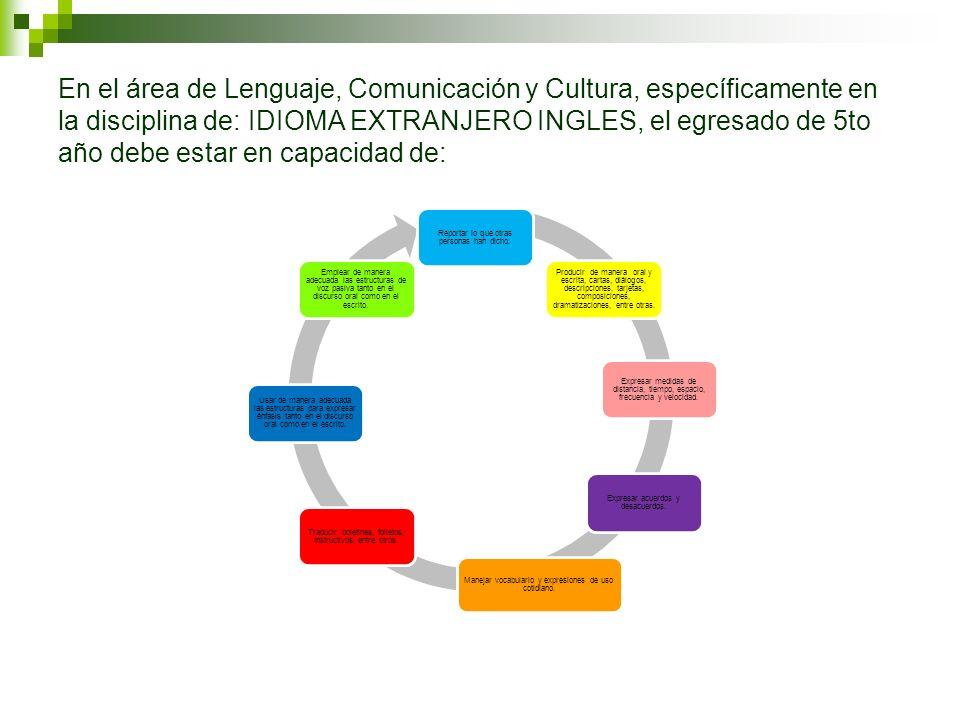 En el área de Lenguaje, Comunicación y Cultura, específicamente en la disciplina de: IDIOMA EXTRANJERO INGLES, el egresado de 5to año debe estar en capacidad de: