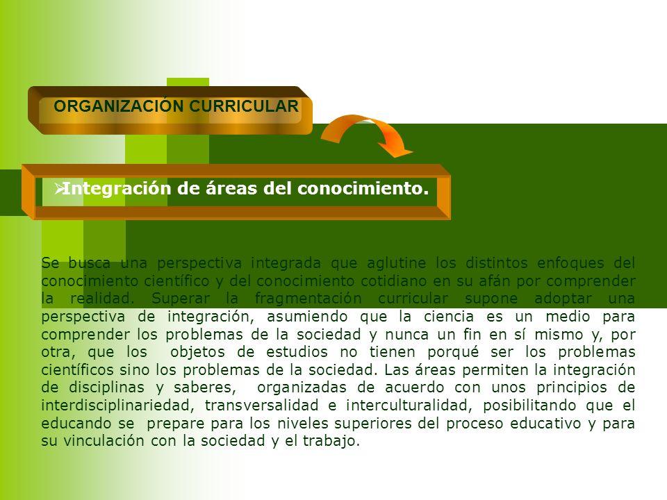 ORGANIZACIÓN CURRICULAR Integración de áreas del conocimiento.