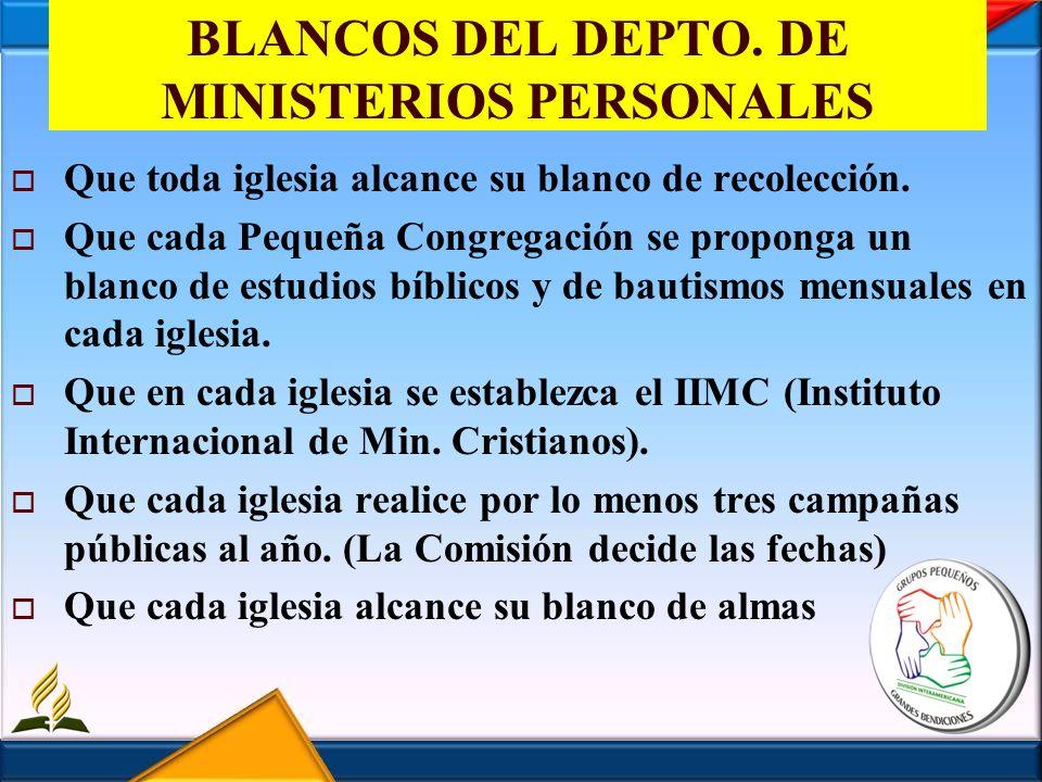 BLANCOS DEL DEPTO. DE MINISTERIOS PERSONALES
