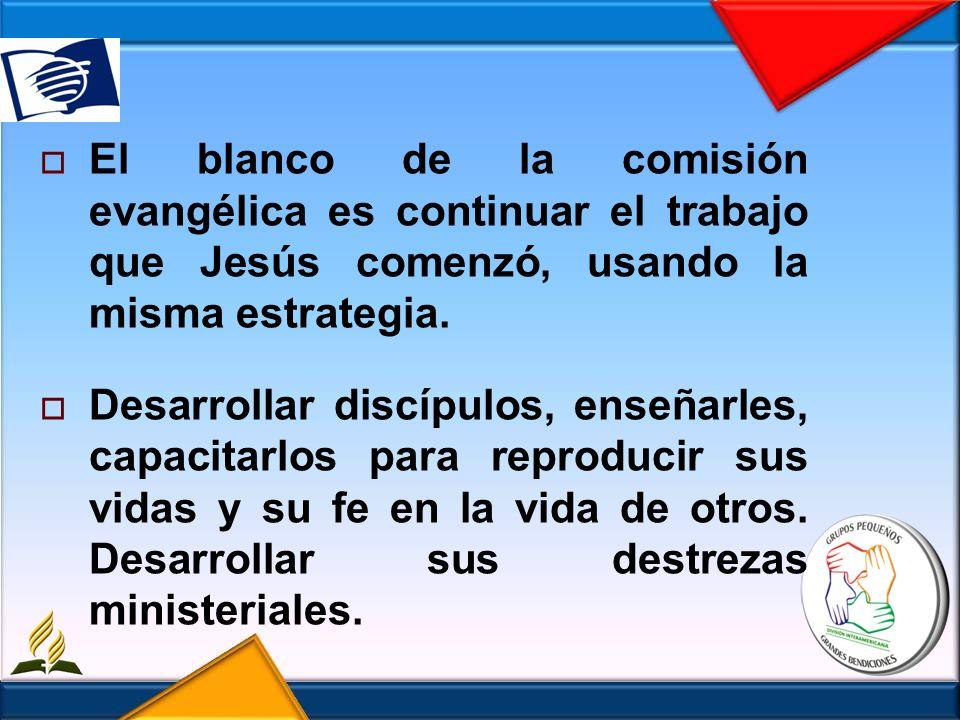 El blanco de la comisión evangélica es continuar el trabajo que Jesús comenzó, usando la misma estrategia.