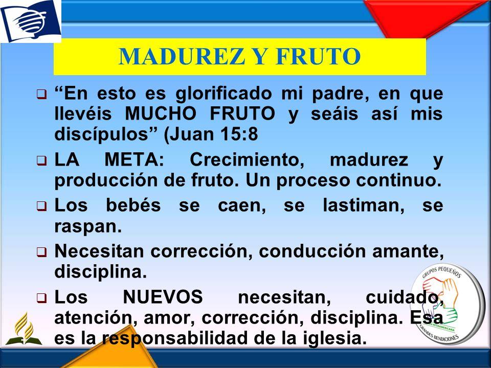 MADUREZ Y FRUTO En esto es glorificado mi padre, en que llevéis MUCHO FRUTO y seáis así mis discípulos (Juan 15:8.