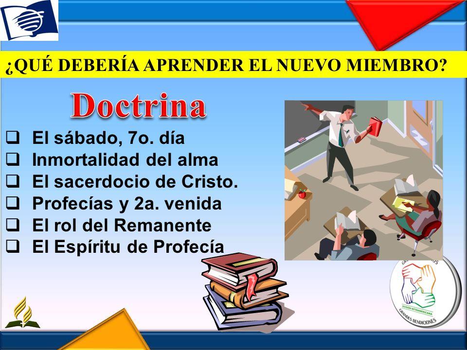 Doctrina ¿QUÉ DEBERÍA APRENDER EL NUEVO MIEMBRO El sábado, 7o. día
