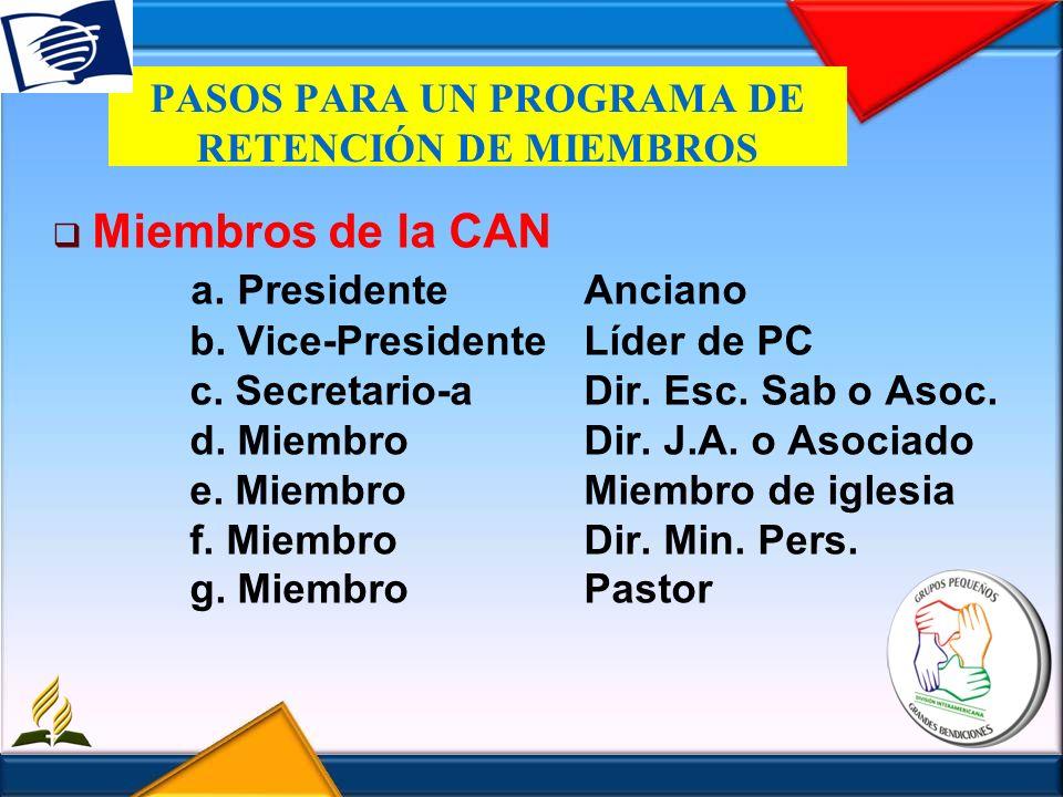 PASOS PARA UN PROGRAMA DE RETENCIÓN DE MIEMBROS