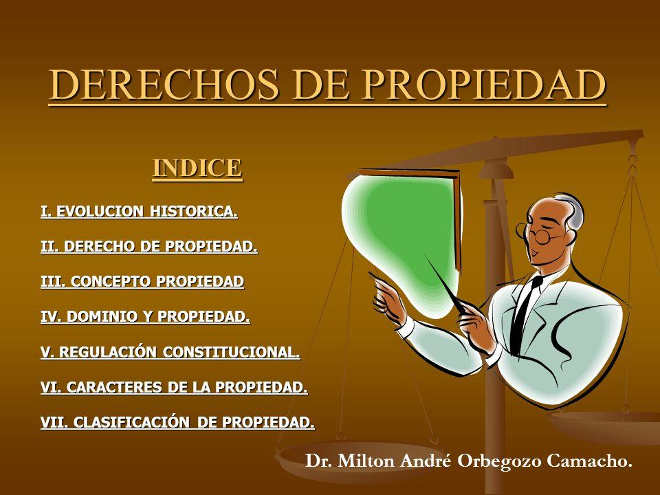DERECHOS DE PROPIEDAD INDICE Dr. Milton André Orbegozo Camacho.