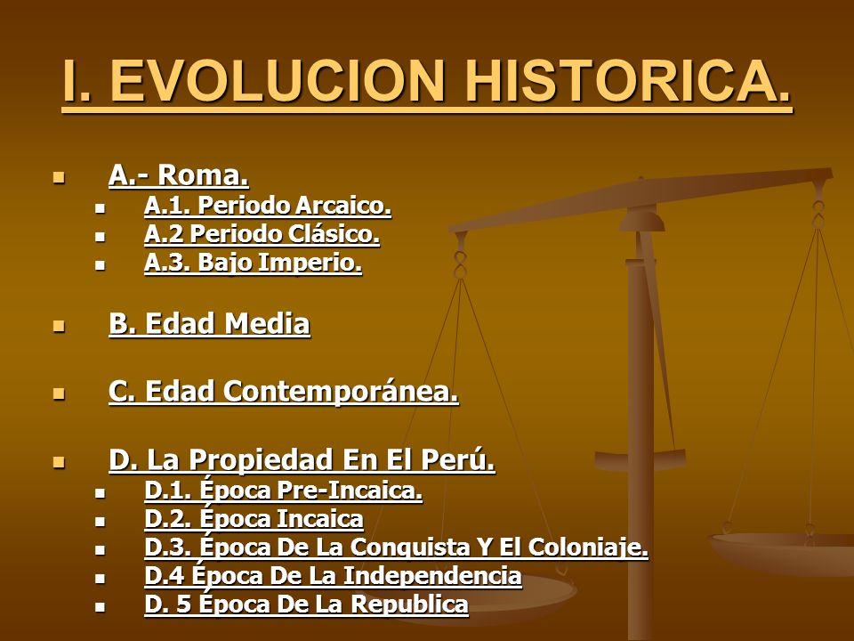 I. EVOLUCION HISTORICA. A.- Roma. B. Edad Media C. Edad Contemporánea.