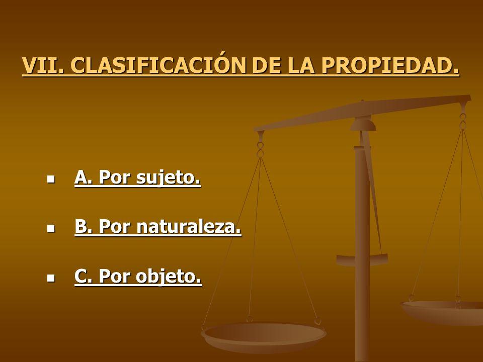 VII. CLASIFICACIÓN DE LA PROPIEDAD.