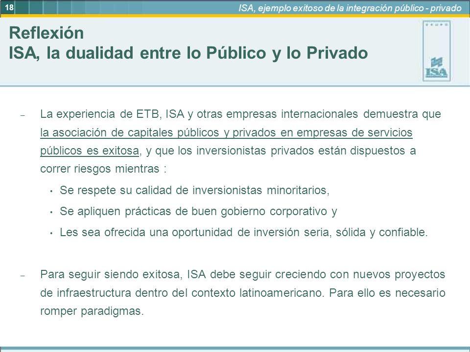 Reflexión ISA, la dualidad entre lo Público y lo Privado