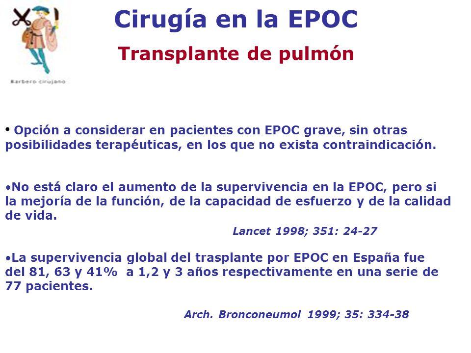 Cirugía en la EPOC Transplante de pulmón