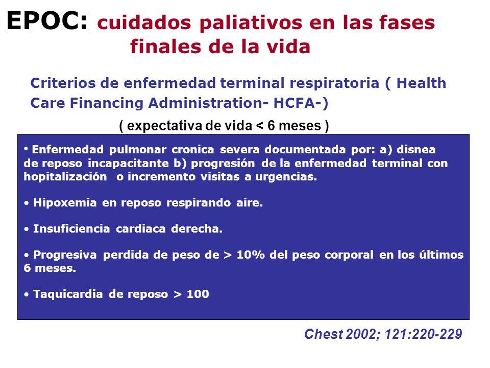 EPOC: cuidados paliativos en las fases finales de la vida