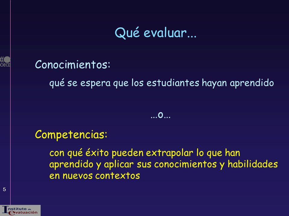 Qué evaluar... Conocimientos: …o… Competencias: