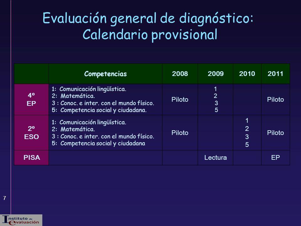 Evaluación general de diagnóstico: Calendario provisional