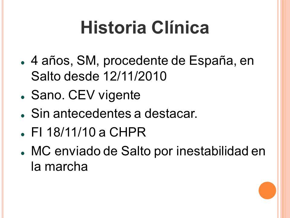 Historia Clínica 4 años, SM, procedente de España, en Salto desde 12/11/2010. Sano. CEV vigente. Sin antecedentes a destacar.
