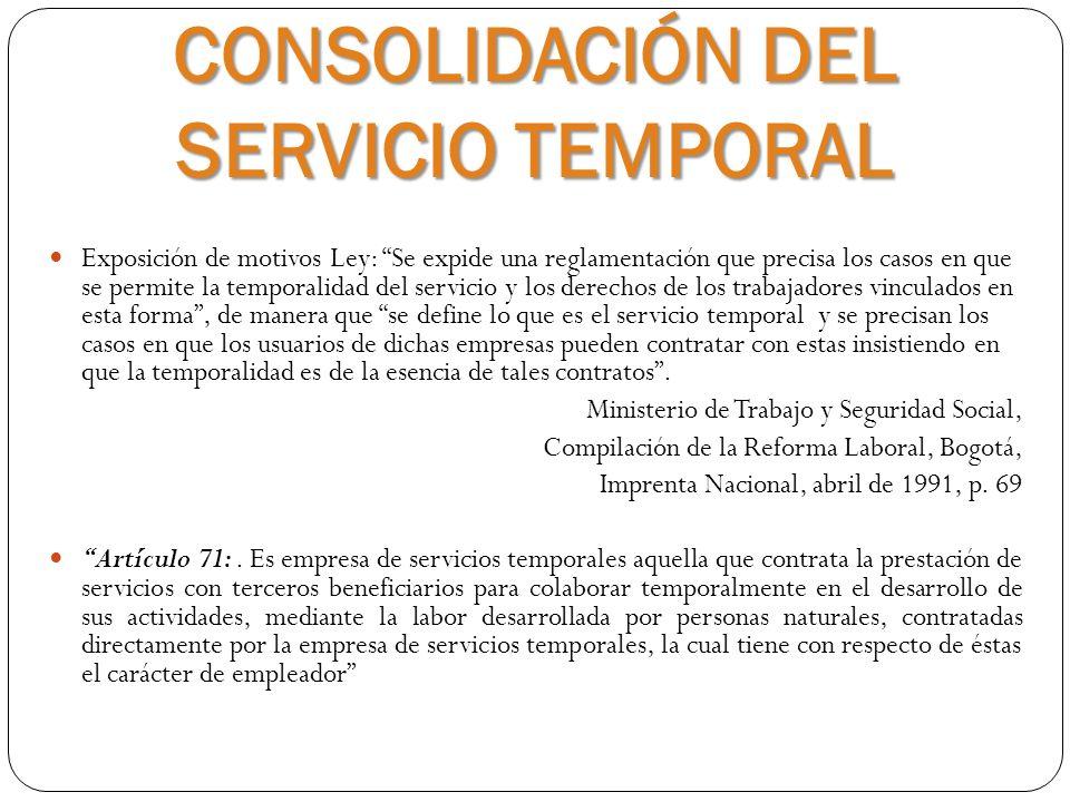 CONSOLIDACIÓN DEL SERVICIO TEMPORAL