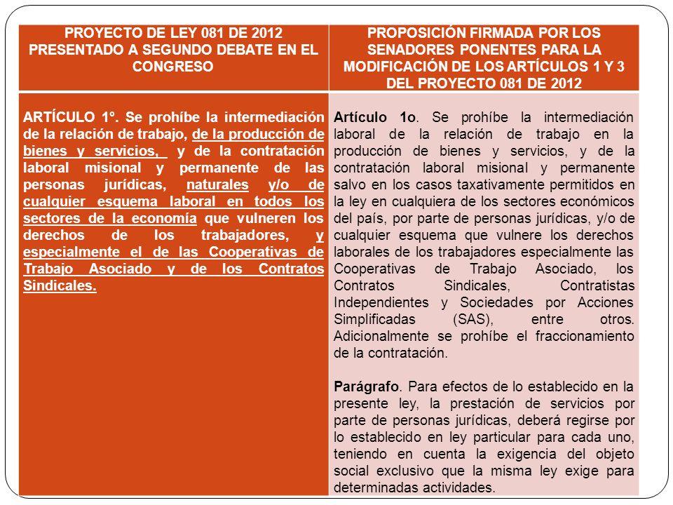 PROYECTO DE LEY 081 DE 2012 PRESENTADO A SEGUNDO DEBATE EN EL CONGRESO