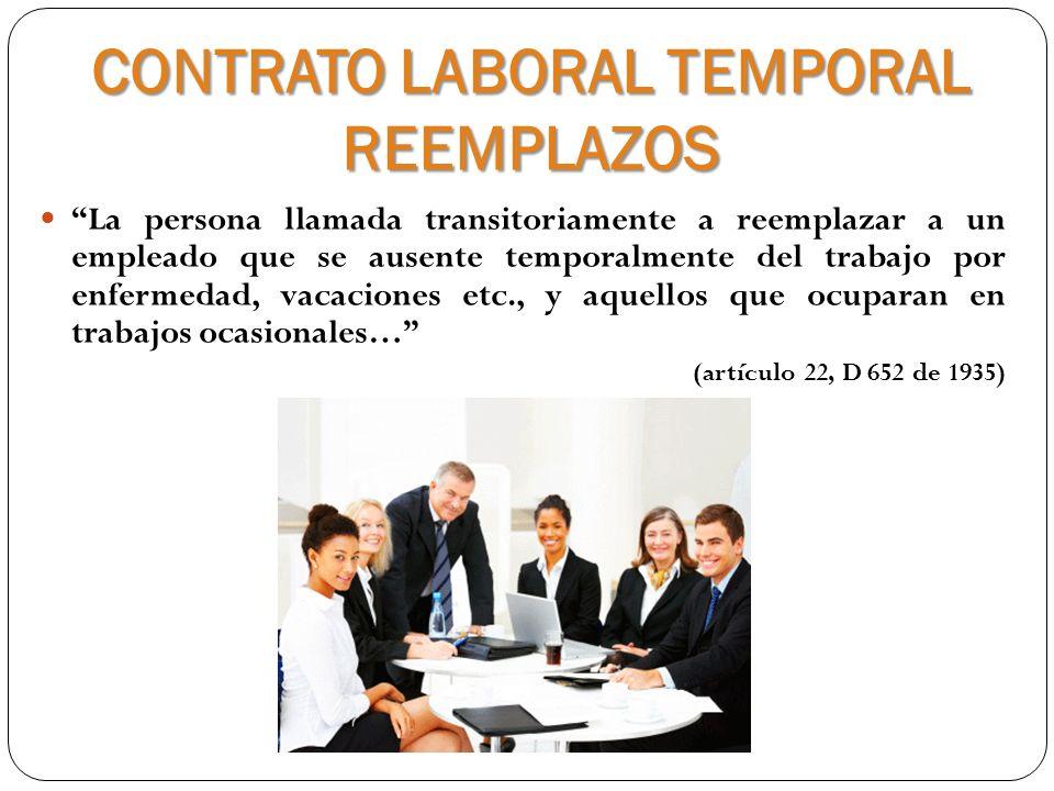 CONTRATO LABORAL TEMPORAL REEMPLAZOS