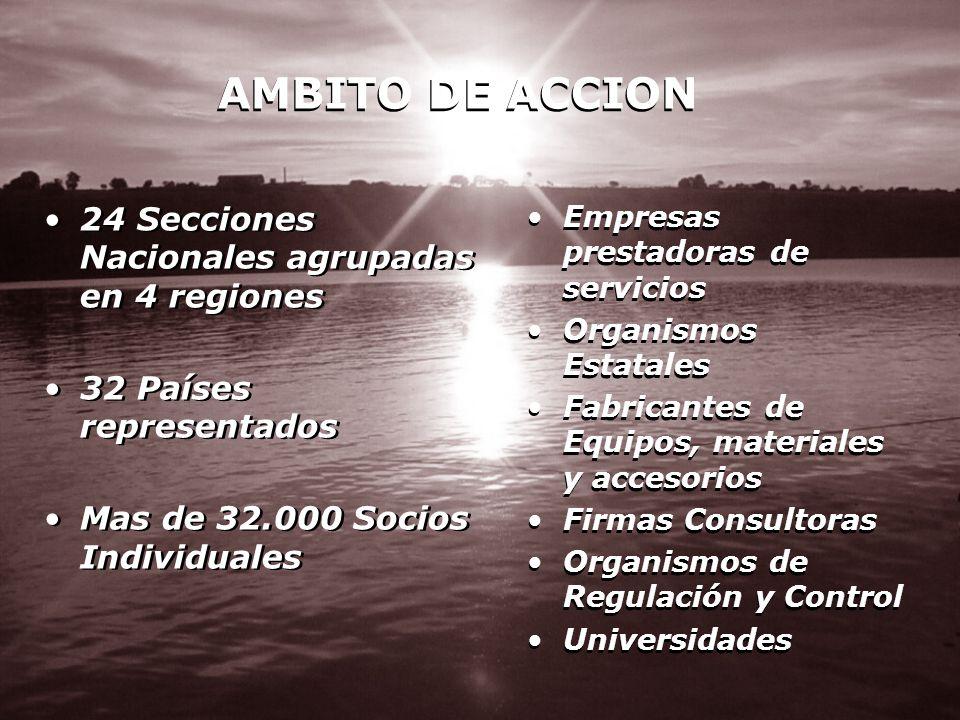 AMBITO DE ACCION 24 Secciones Nacionales agrupadas en 4 regiones