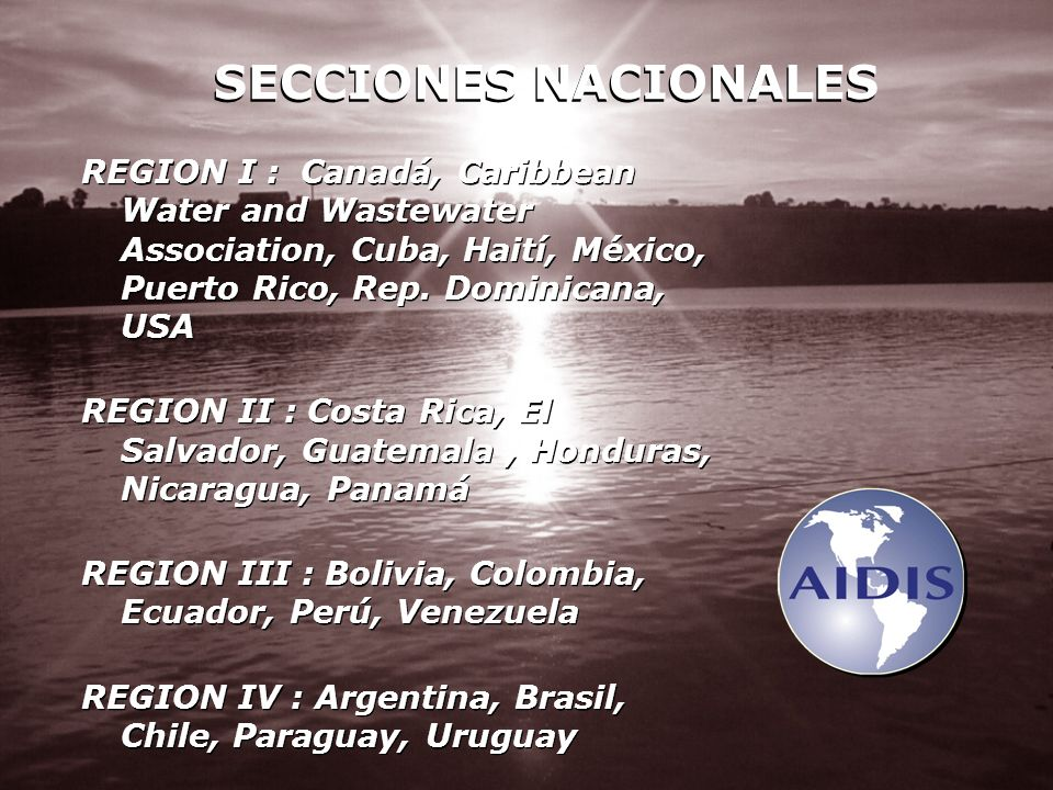 SECCIONES NACIONALES REGION I : Canadá, Caribbean Water and Wastewater Association, Cuba, Haití, México, Puerto Rico, Rep. Dominicana, USA.