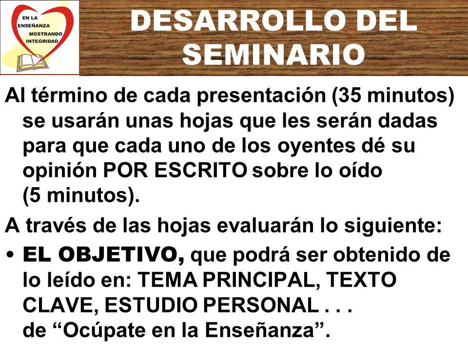 DESARROLLO DEL SEMINARIO