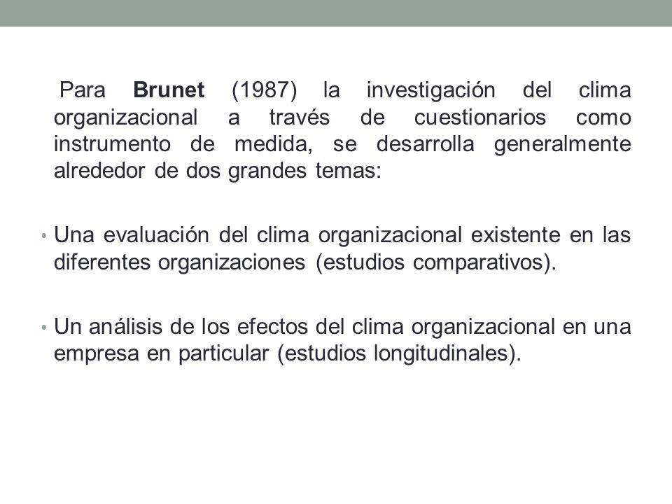 Para Brunet (1987) la investigación del clima organizacional a través de cuestionarios como instrumento de medida, se desarrolla generalmente alrededor de dos grandes temas: