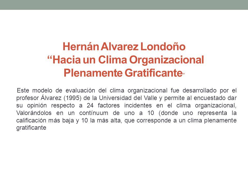 Hernán Alvarez Londoño Hacia un Clima Organizacional Plenamente Gratificante