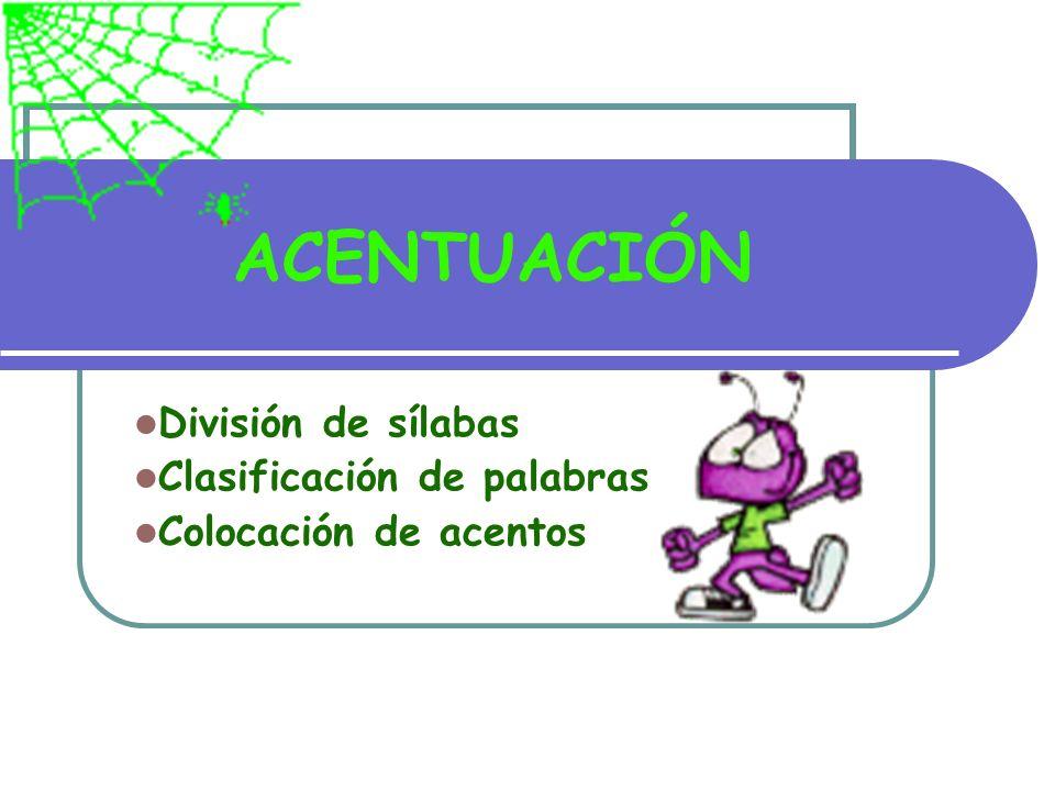 División de sílabas Clasificación de palabras Colocación de acentos