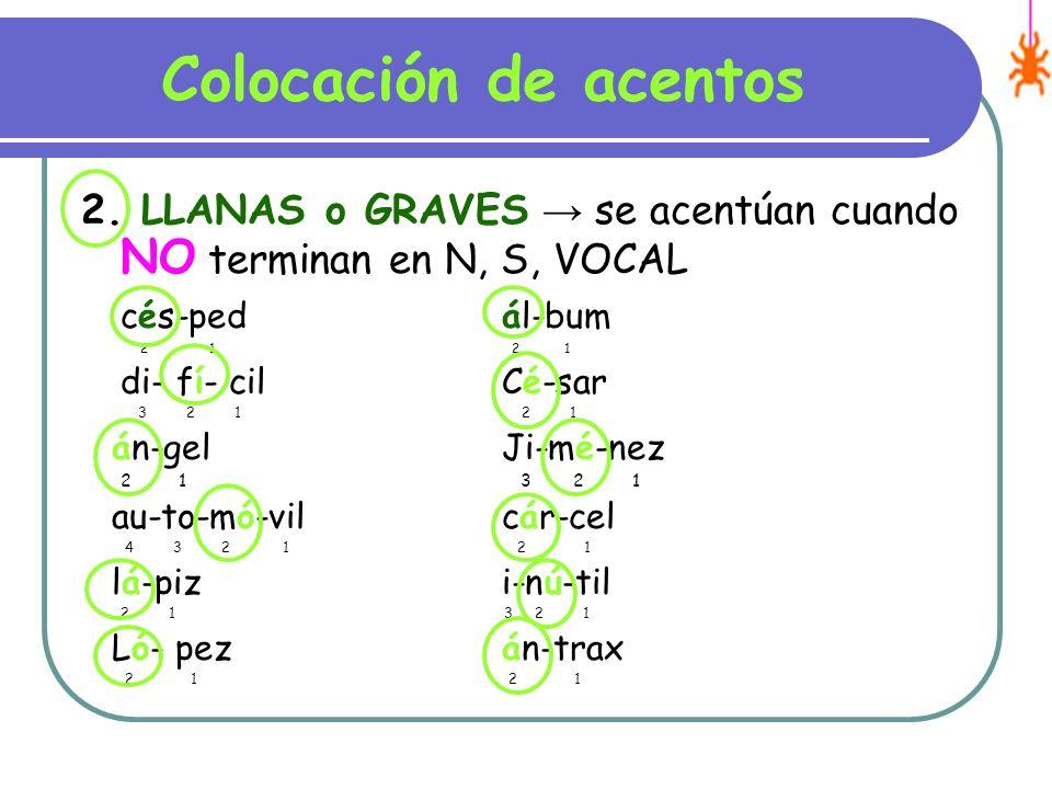 Colocación de acentos 2. LLANAS o GRAVES → se acentúan cuando NO terminan en N, S, VOCAL. cés-ped ál-bum.