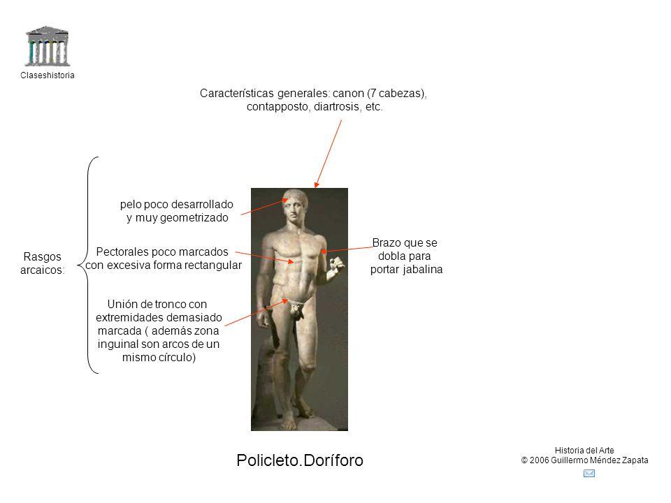 Policleto.Doríforo Características generales: canon (7 cabezas),
