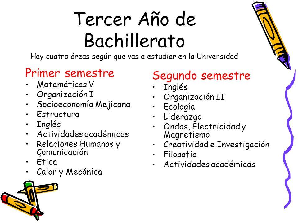 Tercer Año de Bachillerato Hay cuatro áreas según que vas a estudiar en la Universidad