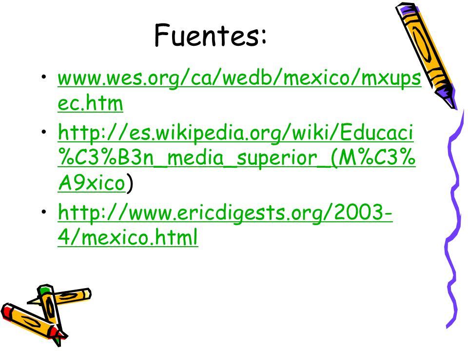 Fuentes: www.wes.org/ca/wedb/mexico/mxupsec.htm