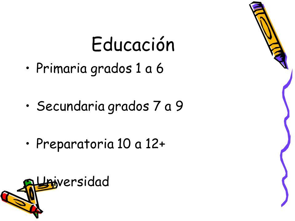 Educación Primaria grados 1 a 6 Secundaria grados 7 a 9