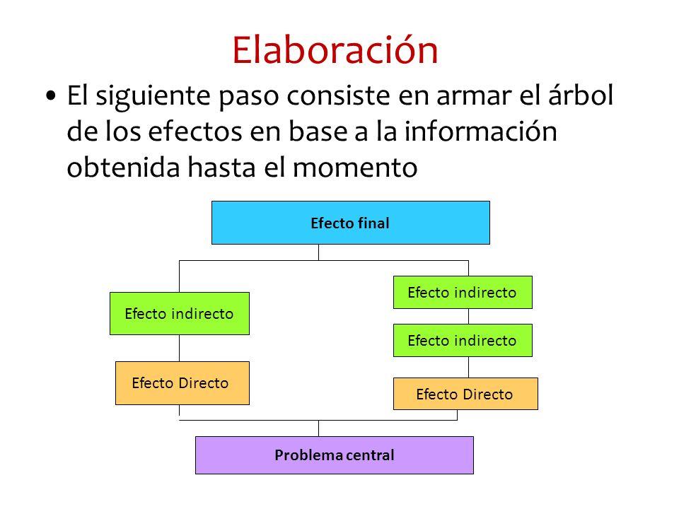 Elaboración El siguiente paso consiste en armar el árbol de los efectos en base a la información obtenida hasta el momento.