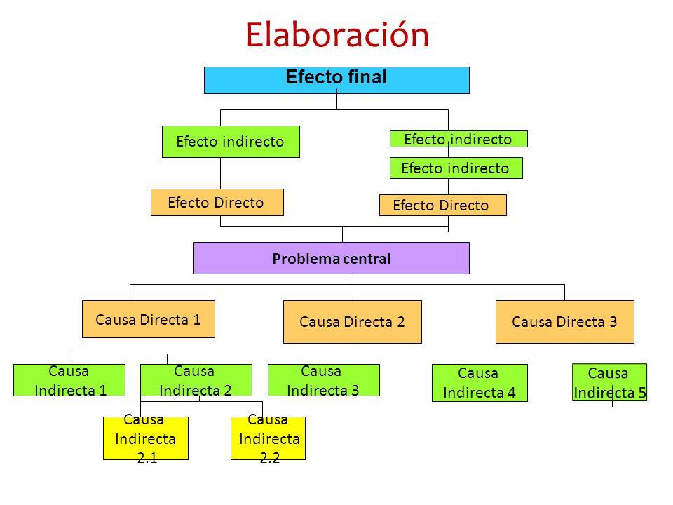 Elaboración Efecto final Efecto indirecto Efecto indirecto