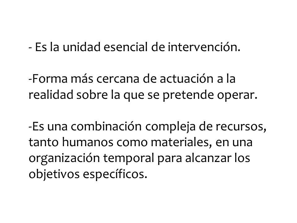 - Es la unidad esencial de intervención.